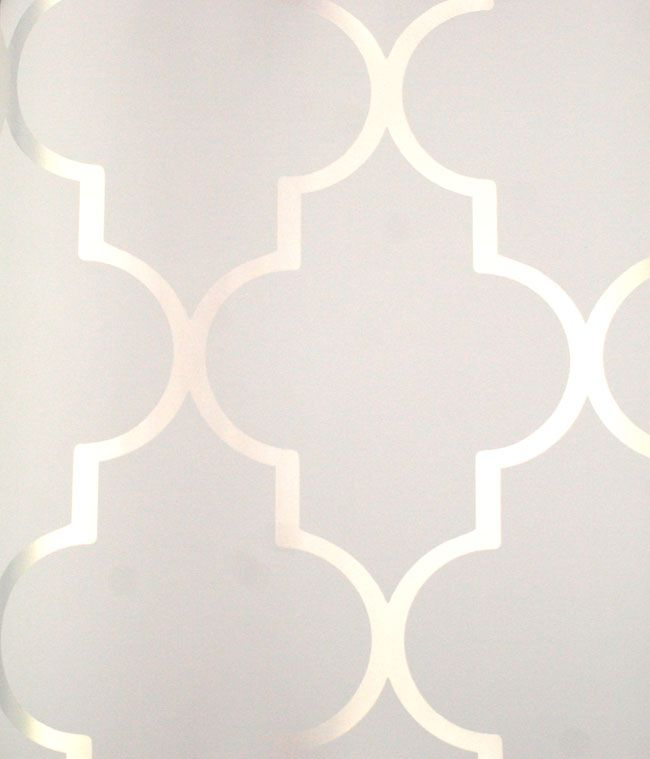 "Silver Reflective ""Alahambra"" on White 