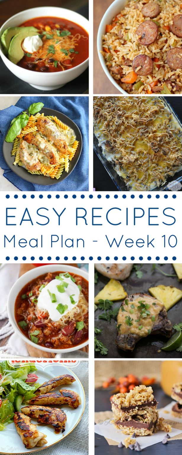 This Easy Dinner Recipes Meal Plan will help you schedule out your week ahead of time and fill it with simple and tasty dinners!