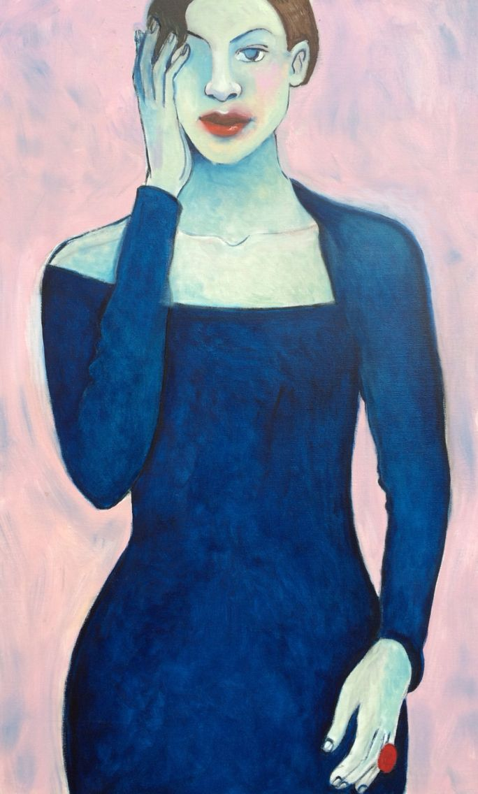 Blue dress, oil in canvas, 80x 150cm, @erminepoort