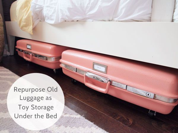 How cute! Jessie from Cape 27 repurposed old suitcases to create toy storage for her daughter! #repurposed