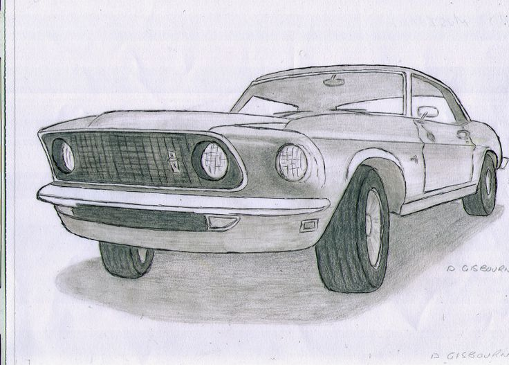 Ink And Pencil Drawing Of A Ford Mustang Classic Cars