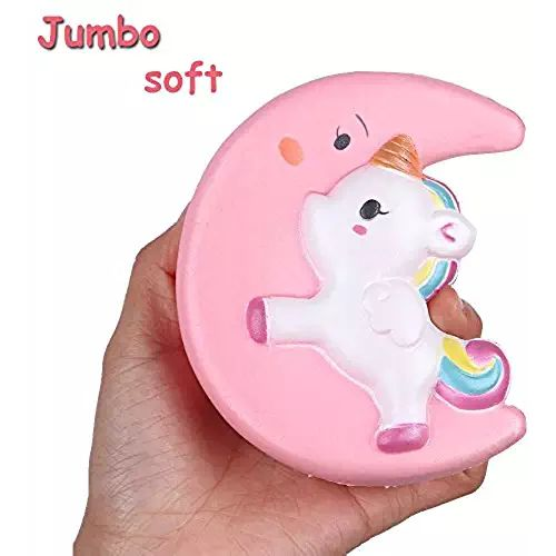 Kawaii Squishies Moon Unicorn Jumbo Squishies Slow Rising Cream Scented Squishies Soft&Colorful Animal Squishies Toys for Children Adults Stress Reliever Anxiety Squishies Animals Toys