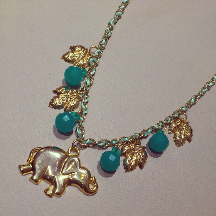 elefante elephant gold necklace collares collar shuuforyou hechoamano handmade fashion accessories accesorios blue chain style moda beautiful