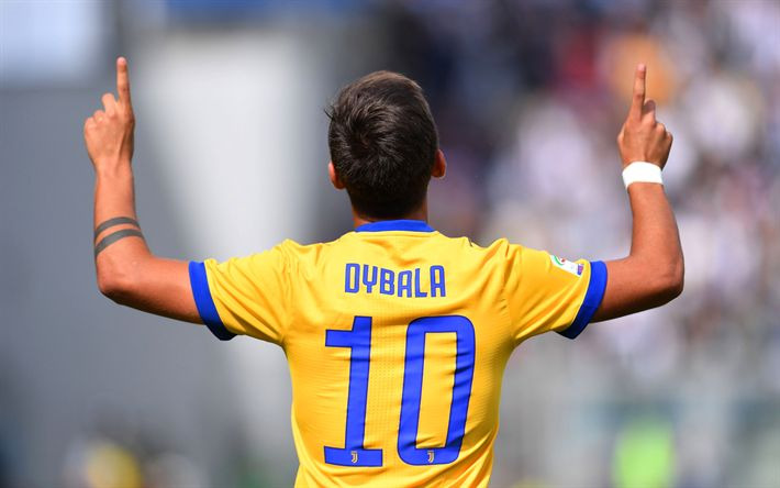 Download wallpapers Juventus, Paulo Dybala, 4k, Juve, yellow uniform, footballers, Italy, Serie A