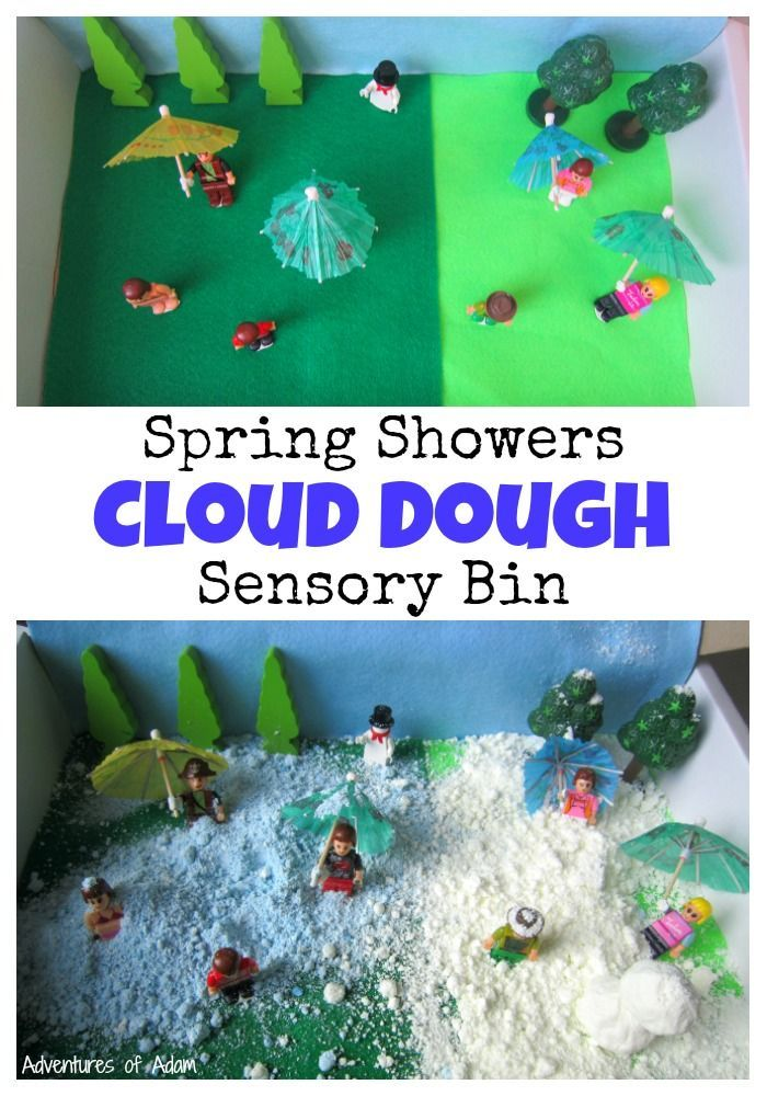 Spring Showers Cloud Dough Sensory Bin. Create a cloud dough sensory bin to explore Spring weather. Find out how to colour cloud dough to make it blue to represent the rain. With the snow cloud dough you can even build a snowman.