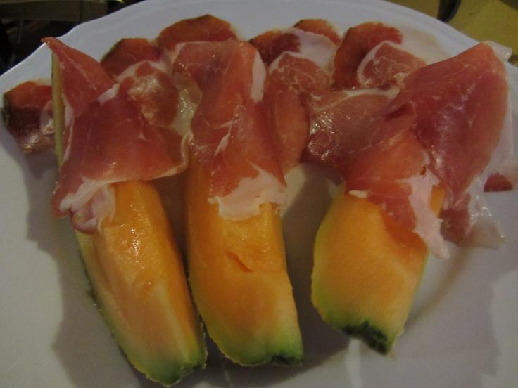 Meloen met rauwe ham