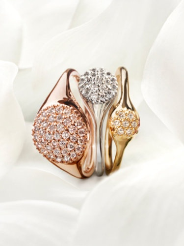 Pandora LovePod rings. I love the stacked look...gorgeousness.