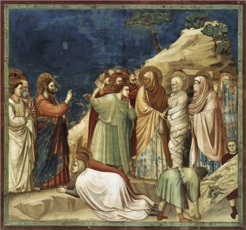 Raising of Lazarus - Giotto. c.1304-06. Fresco. 200 x 185 cm. Scrovegni (Arena) Chapel, Padua, Italy.