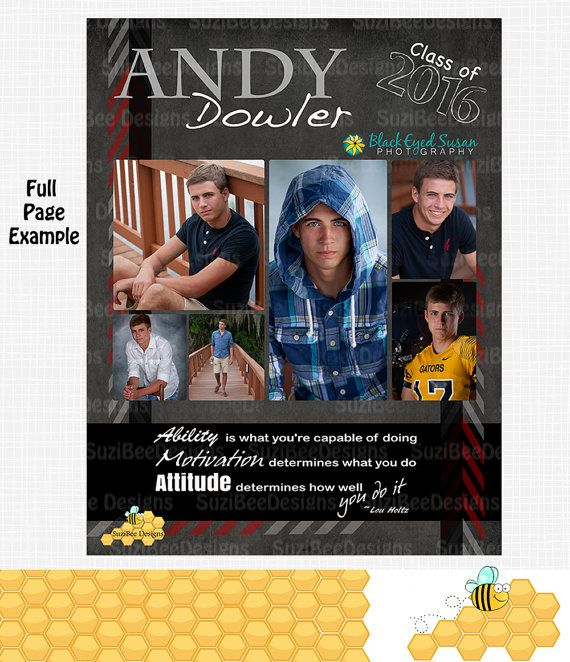 YEARBOOK AD TEMPLATE - High School Senior, Middle, Elementary, Preschool, Dance, Sports, Personalized, Jostens, Full, Half, Quarter Page