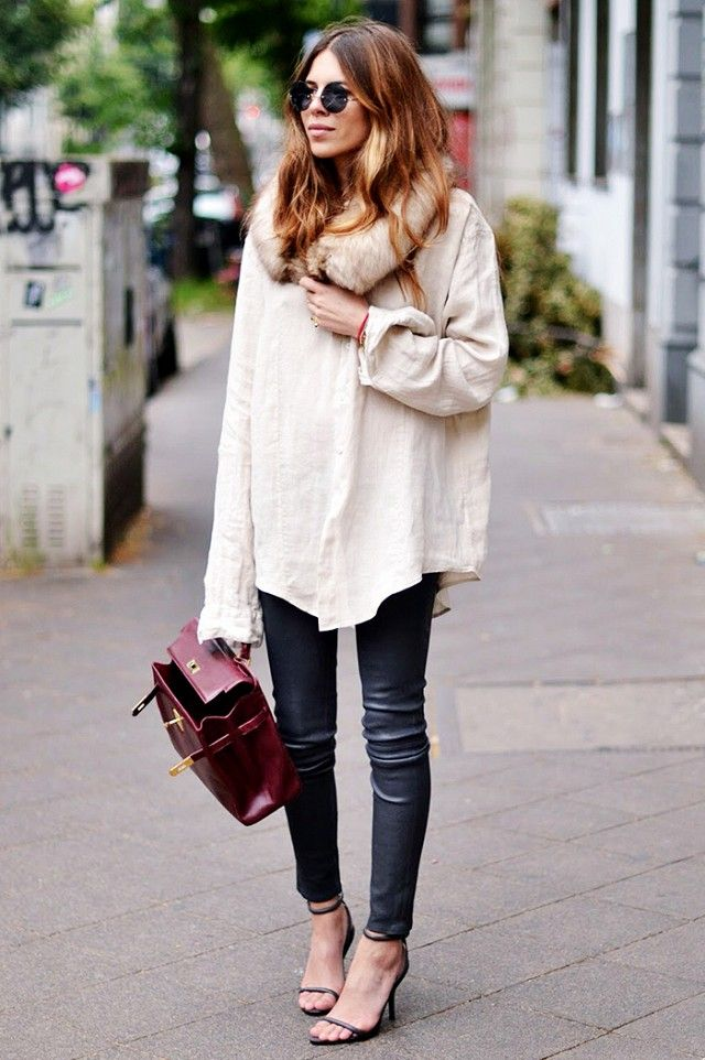 All you need to dress up your basic blouse is a faux fur collar.