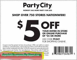 Free Printable Party City Coupons Party City Party Printables Free Coupons
