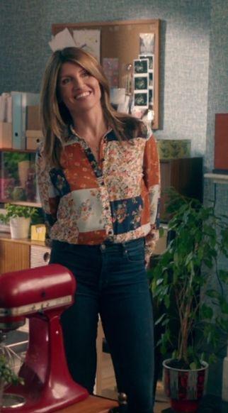 Sharon Horgan on Catastrophe: Season 3 episode 3: faux-patchwork blouse, jeans