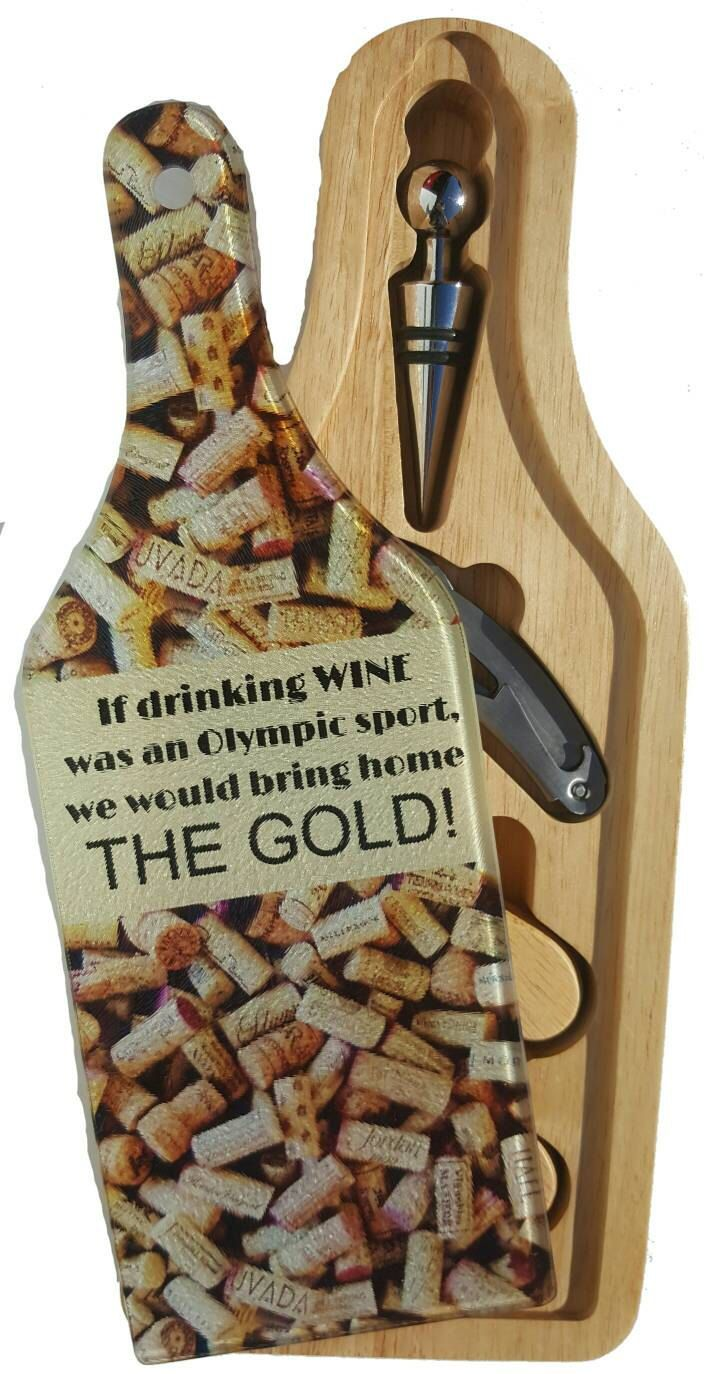 Wine Gift Set - Wine and Cheese - Wine Cork - Executive Gift - Barware - Cutting Board - Cheese Board - Wine Tasting - Winery - Olympic Gold