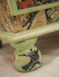 All of the decoupage has been done using original vintage comic books