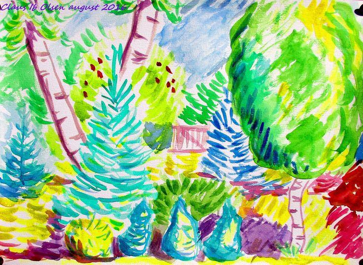 Birches. Watercolor (1600×1171). August 2016. Claus Ib Olsen