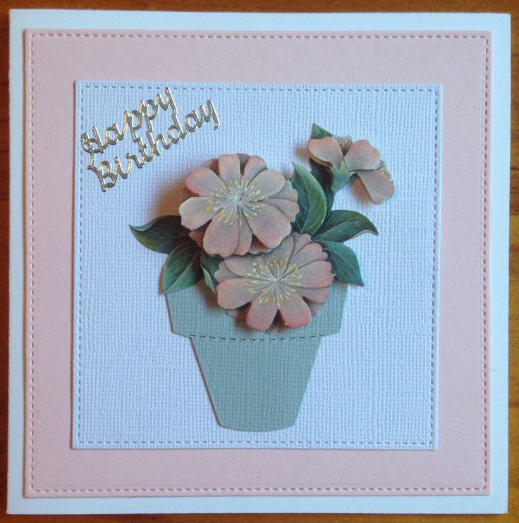 Handmade birthday card using 3D sheet, pot die cut, square die cuts and peel off sticker.