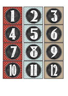 Nombres pour le calendrier - Thème Craies et Chevron!