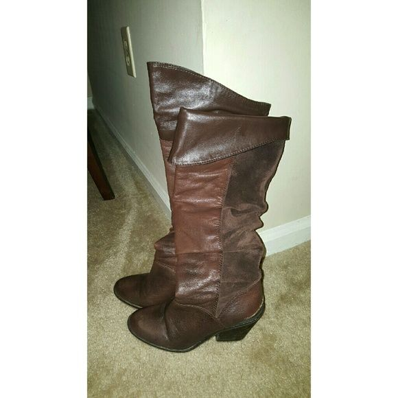 Lucky Brand Edina OTK boots Brown LEATHER AND SUEDE over the knee boots you can also fold or slouch. Used Lucky Brand Shoes Over the Knee Boots