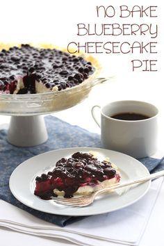 No Bake Blueberry Cheesecake Pie via @dreamaboutfood