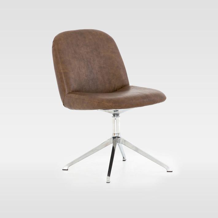 Modern Upholstered Swivel Desk Chair Distressed Brown Modern