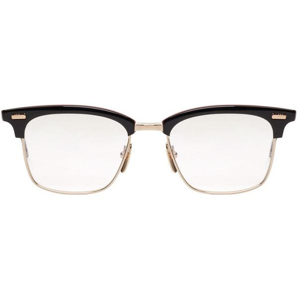 Thom Browne Navy and Gold Horn-Rimmed Glasses ($750) ❤ liked on Polyvore featuring men's fashion, men's accessories, men's eyewear, men's eyeglasses and thom browne