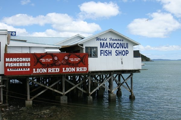 We will get our fish n chips here at Mangonui, New Zealand