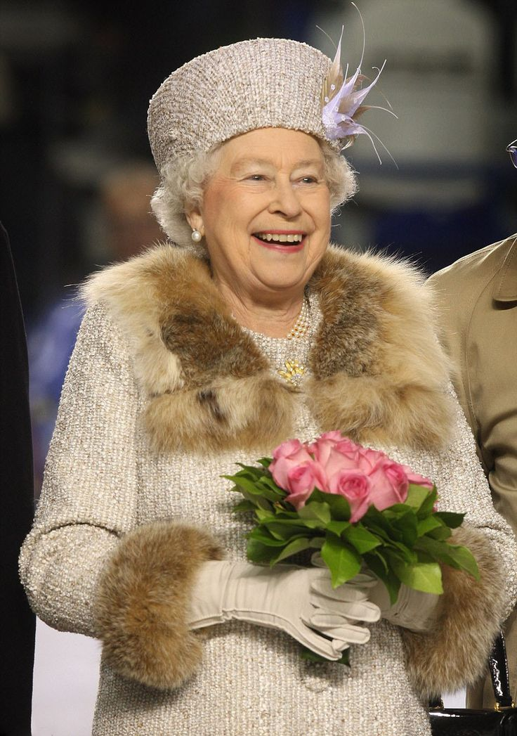 The Queen is fabulous in fur on the collar and cuffs of this gold-threaded wool jacket, designed by royal dressmaker Angela Kelly. Worn to an ice-hockey match in Slovakia in 2008, the Cossack look shows s