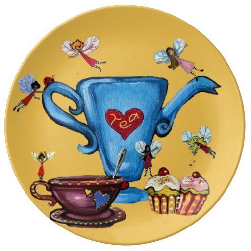 Fairies and Teapots Cake Plate #cake #cupcake #fairy #kitchen
