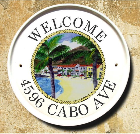 Seaside Village Address Plaque/ Tropical House Plaque/ Beach Address Sign/ House Number Signs/Personalized Housewarming Gift/ Coastal Decor
