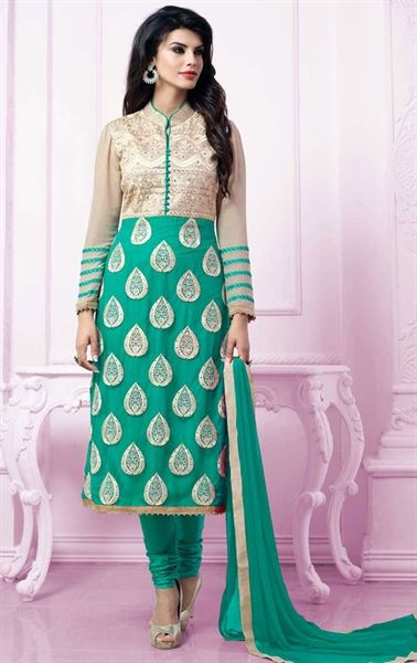 Mesmerizing Emerald Churidar Kameez with Designer Dupatta