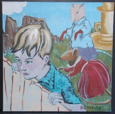 "DAVID BROMLEY ""Children Series"" Boy with mice. Original Acrylic on Canvas, Signed 61cm x 61cm"