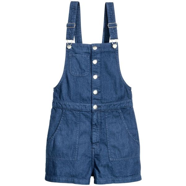 H&M Denim Bib Overall Shorts $12.99 ($13) ❤ liked on Polyvore featuring shorts, overall shorts, overalls shorts, zip shorts, short shorts and blue shorts