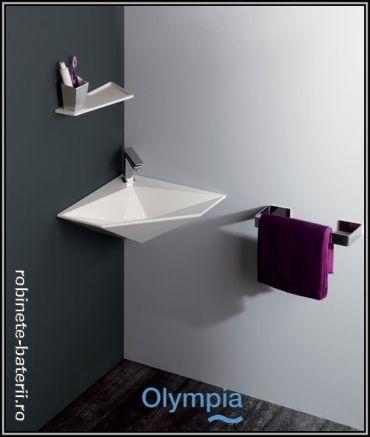 Lavoar pe colt Olympia Crystal, suspendat pe perete  