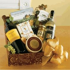 DIY Wine gift basket...Fill with wines, cheese, crackers, cork screw, etc.