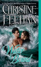 Water Bound (Sisters of the Heart Book 1) by Christine Feehan. - Her name is Rikki, a sea~urchin diver in Sea Haven.  She has always felt an affinity for the ocean, and for the seductive pull of the tides.  And now she feels drawn in the same way to the enigmatic man she rescued.  But soon they will be bound by something even stronger, and their tantalizing secrets will engulf them both in a whirlpool of dizzying passion and inescapable danger.