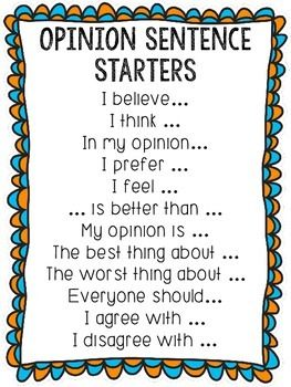 list of sentence starters for essays Kinder & 1st grade sentence starters - a 64-page sentence starters packet packed with 42 great sentence starters that will get your student writing students love to write about their lives and these sentence starters help them begin.