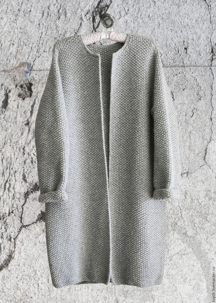 Купить Пальто Оверсайз Вязаное Норка (Серый цвет) - серый, однотонный, пальто…