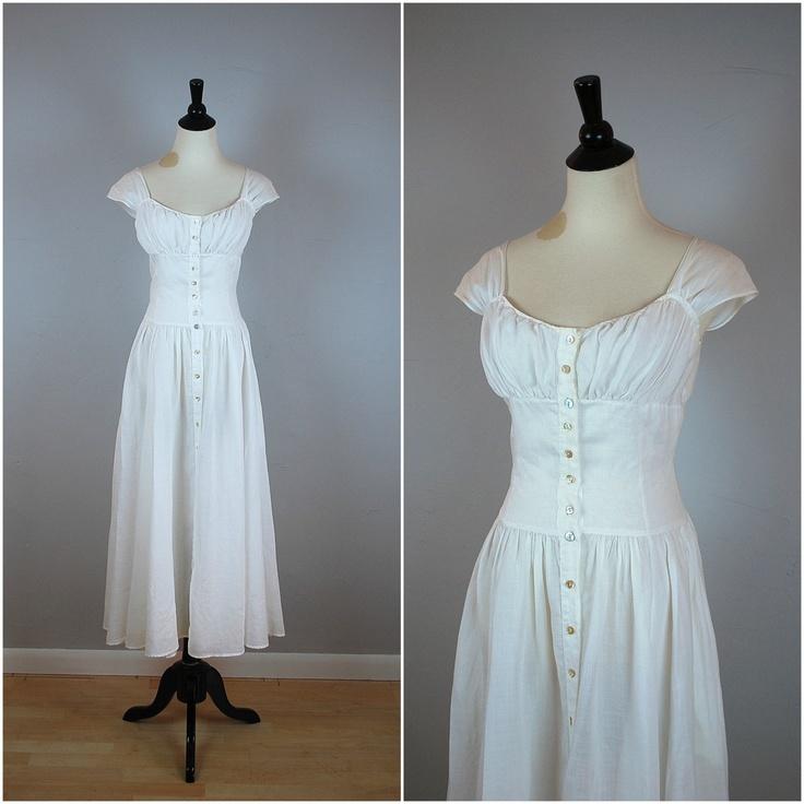 70s BONNIE STRAUSS sundress / Vintage white SUNDRESS. $69.00, via Etsy.