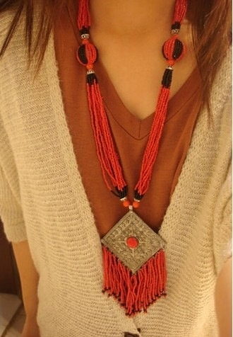 Handmade Nepalese Tibetan coral beads pendant by nepalesejewelry, $19.99