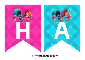 """Decorating a venue for a Trolls party? We've made this FREE printable Trolls Birthday Banner you can use to make your own banner for your little one's big day. The banner templates include all the letters needed to spell out the words """"Happy Birthday"""". There are two letters to an A4 piece of paper. All …"""