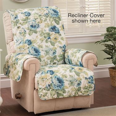 English Floral Sky Blue Quilted Furniture Protectors