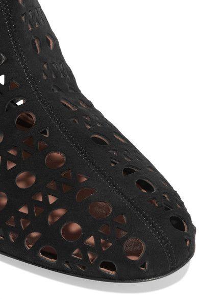 Alaïa - Laser-cut Suede Wedge Ankle Boots - Black - IT38.5
