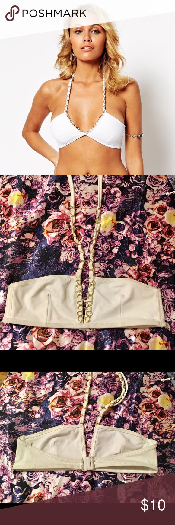 ASOS Gold Chain Detail Bandeau Bikini Top Super sexy white halter bandeau top!           Very classy look.                                            Used twice and got so many compliments! Compliments the chest.                                        I am usually an XS/S 32B and this fit me great! Asos Swim Bikinis