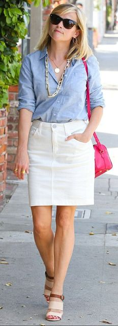 outfit post - sister week: chambray shirt, cream pencil skirt, beige ankle strap heels | Outfit Posts