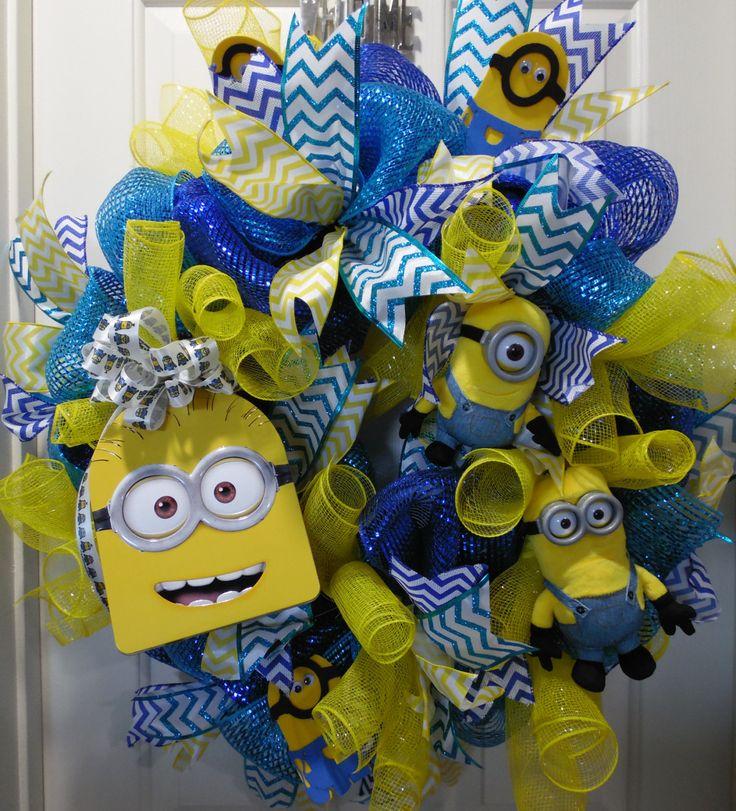 Minion Wreath, Stuart Minion  Wreath, Kevin Minion Wreath, Handmade Wreath, Yellow and Blue Wreath, Lunchbox Wreath, Minion Birthday Wreath by SwaymeVegas on Etsy