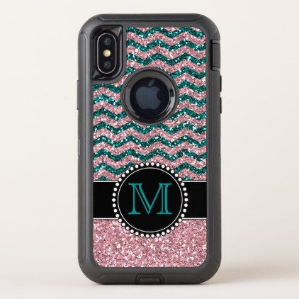 Blue & Pink Glitter Chevron Monogrammed Defender OtterBox Defender iPhone X Case - pink gifts style ideas cyo unique