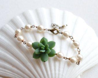 Groene succulente armband, sappig sieraden, sappige thema huwelijksjuwelen, sappig groen