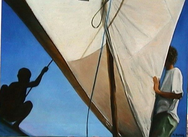 NOSY VE  huile sur toile  d'après carnet de voyage  Madagascar
