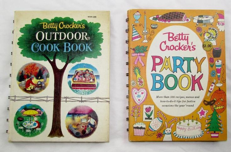 2 Vintage Betty Crocker's Cook Book Party Book 1st edition - Outdoor Cook Book