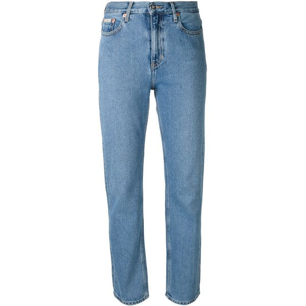 Ck Jeans fitted straight leg jeans (543840 PYG) ❤ liked on Polyvore featuring jeans, blue, fitted jeans, calvin klein jeans, straight leg jeans and blue jeans